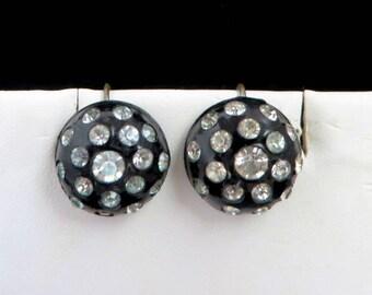 Black Dome Earrings | Vintage Rhinestone Studded Screwback Earrings | Date Night Jewelry