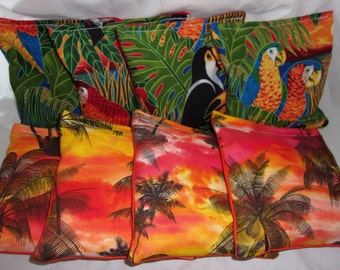 8 ACA Regulation Cornhole Bags -  Tropical Birds Toucans and Parrots & Beach Palm Trees