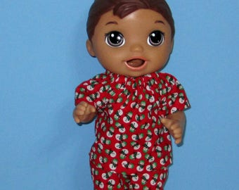 Snackin Luke, Baby Alive Snackin Luke Clothes, Baby Alive Clothes, Snow Man Pajama Set, Boy Doll Clothes, 12 13 inch Doll Clothes, Outfit