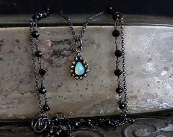 Opal Pendant Necklace, Oxidized Silver Chain, Black chain, Double Strand, Double Chain Gemstone Necklace, Black Bead, Opal Teardrop Stone