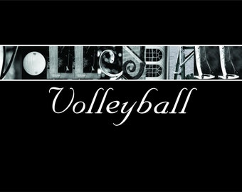 Black and white 4x6, Volleyball Photo Letter Art  Print (unframed)