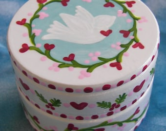 Hand Painted Love Boxes Christmas White Peace Dove Box Wood