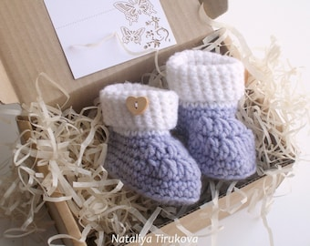 Crochet Booties With wood button/PREGNANCY REVEAL/baby/Crochet booties/Baby boy shoes/New Baby shower gift/Crochet baby shoes/Baby booties