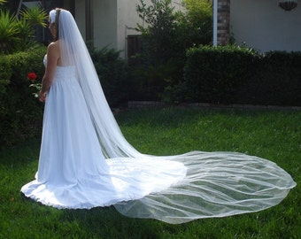 Cathedral Length One Tier Bridal Veil 120 inches, Clean Cut Edge In light Ivory, diamond white or White - READY TO SHIP in 3-5 Business Days