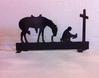 Cowboy Prayer Mailbox Topper Metal  Horse,Cross & Cowboy Mailbox Topper Cowboy Prayer Mailbox Topper