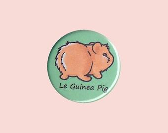 Cute Guinea Pig Badge 'Le Guinea Pig' - red guinea pig, cheeky guinea pig, guinea pig button, cute cavy pin, guinea pig bum