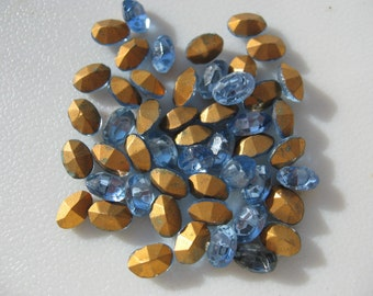 Vintage Light Sapphire Rhinestones 7x5mm Oval Swarovski QTY - 5 LAST ONES