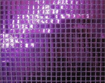 Square Sequins Hologram Fabric - PURPLE - Sold By Yard Purse Wallet Dress Phone Cover Accessories