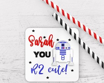 Personalised you r2 cute coaster, valentines coaster, star wars themed coaster, you r2cute coaster, personalized valentine gift, star wars