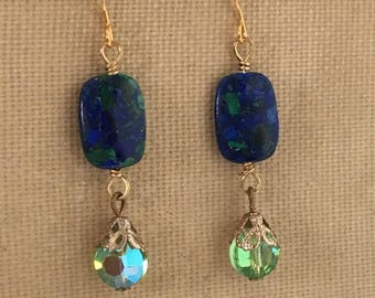Lapis and Malachite Gemstone with Crystal Drop Earrings