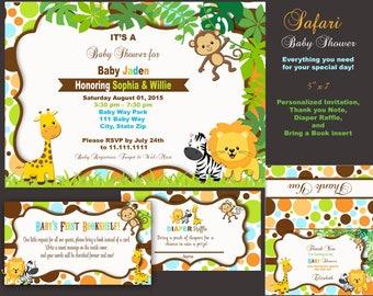 Safari Baby Shower Invitation,  gender reveal, Safari sprinkle safari invite safari invitation  Bring a book Diaper Raffle