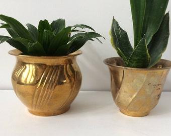 pair of vintage brass pots / planters