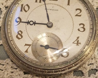 1917 Howard pocket watch, size 12, high jewels and white gold fill case