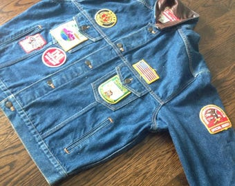 Vintage Marlboro Jean Jacket with Patches Men's Medium Country