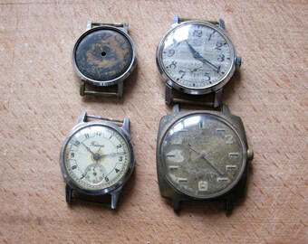 Set of 4 men's watch for parts or repair Horology Mechanical watch Watch parts USSR Recycled watch parts Clockwork jewelry Steampunk art
