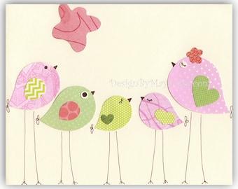 Nursery Bird Decor - Baby Girl Tweet Bird Art Decor, Love Birds Nursery, Pink And Green Nursery Print, Baby Girl Nursery Wall Art Decor