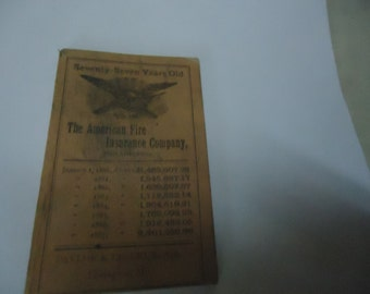 Antique 1887 The American Fire Insurance Company Of Philadelphia Notepad Booklet With Calendar, collectable