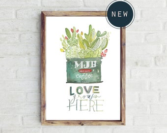 Coffee tin and Succulents - Love grows here PRINT | 60% OFF
