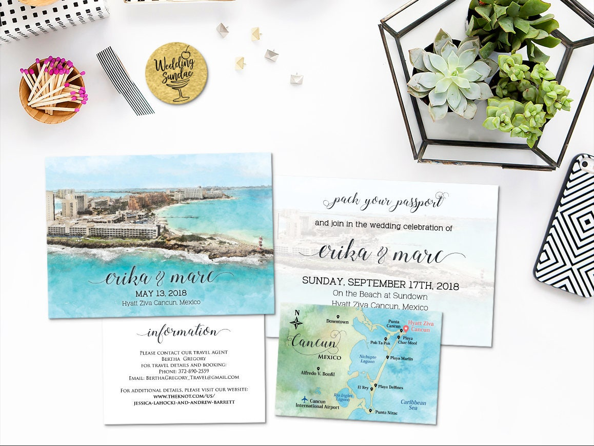 Digital Printable Invitations Files Destination Wedding CANCUN
