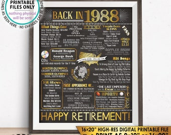 """Retirement Party Decorations, Back in 1988 Poster, Flashback to 1988 Retirement Party Decor, Chalkboard Style PRINTABLE 16x20"""" Sign <ID>"""