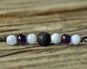 Lava Diffuser Bracelet, Blue Lace Agate, Amethyst, Aromatherapy, Essential Oil Diffuser Bracelet, Yoga, Diffuser Jewelry