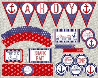 Nautical Party Package. Red & Blue Nautical Party Package. Digital Nautical Birthday Package. Customizable.