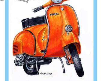 Vespa rally 200 art print classic scooter art print Marshys Art