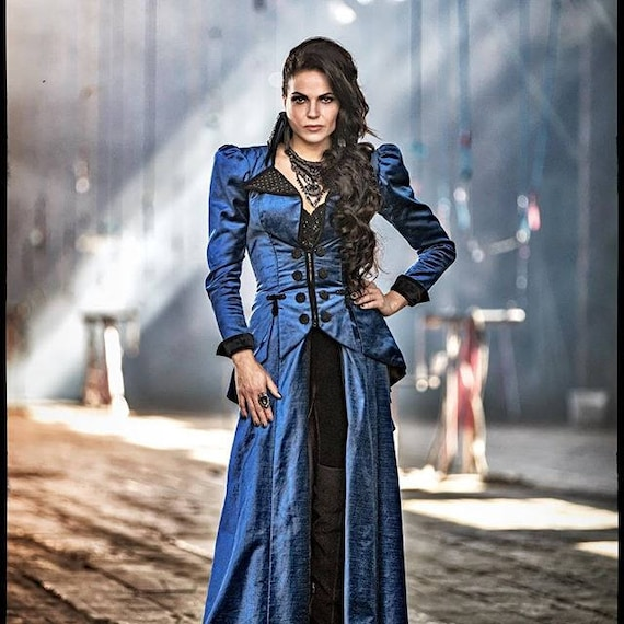 Once Upon A Time Costumes: OUAT Evil Queen Regina Blue Victorian Costume Custom-made