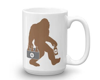 Big Foot With Beer Funny Sasquatch Mug