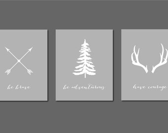 50% Off Set of 3 Woodland Deer Antler Print Nursery Arrow Decor Be Brave Be Adventurous Have Courage 8x10 Instant Downloads