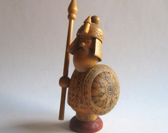 vintage hand made wooden soldier statuette