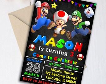 Super Mario Invitation, Super Mario Birthday Invitation, Super Mario Bros Invitation, Super Mario Bros, Super Mario Birthday, Super Mario
