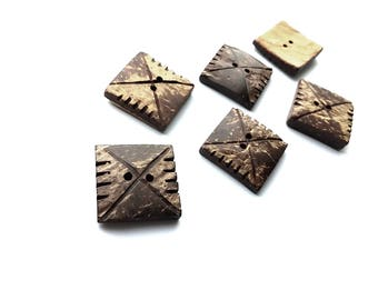 Square coconut button set of 4 rustic buttons 20mm