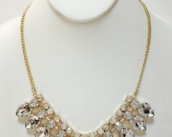 Gold and Crystal Clear Teardrops Necklace / Bridesmaid Rhinestones Necklace.