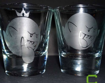 Super Mario Bros. - Boo / King Boo - Etched Shot Glass