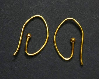 18k Solid Yellow Gold Interchangeable Earwires With 2.2mm Ball Ends Pair