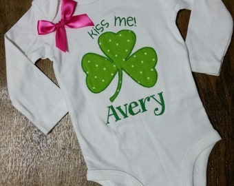 "Baby toddler girl embroidered clover shamrock ""Kiss Me"" St Patrick's Day onesie bodysuit shirt outift personalized monogram"