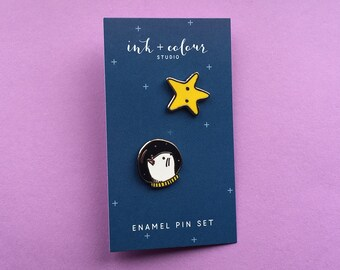 Space Cat and Star Enamel Lapel Pin Set