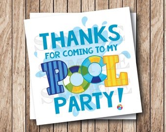 Instant Download . Printable Pool Party Tags, Pool Party Thank You Tags, Printable Pool Party Tags