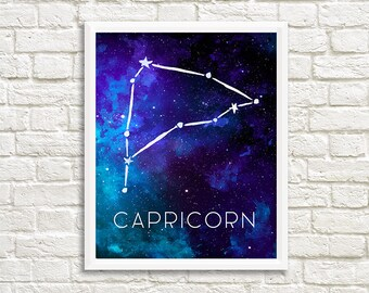 Capricorn Constellation, Art Print, Watercolor, Blue, Aqua, Aquamarine, Night Sky, Space, Stars, Horoscope, Digital File, Instant Download