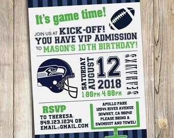 Seattle Seahawks Football Birthday Party Invitation / DIY Printable Download