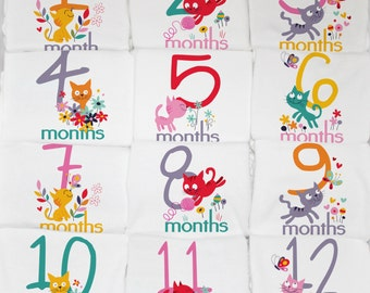 Colorful Kitty Cat Monthly Baby Onesies, 12 Month Set, Perfect Baby Shower Gift