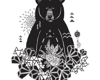 Black and White Geometric Bear Illustration - Archival Art Print