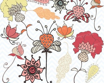 80% OFF SALE Autumn flowers clipart commercial use, vector graphics, digital clip art, digital images - CL395