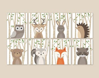 Forest animal nursery prints set of 8, Woodland animals nursery, Woodland baby animal pictures Forest creatures PRINTS or CANVAS 028