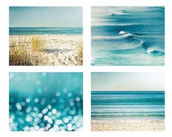 Beach photography print set ocean photography nautical decor 5x7 8x10 11x14 fine art photography waves bokeh photography abstract teal aqua