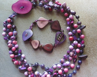 Purple Tagua nut  knotted necklace, purple and pink tagua nut and Acai Neckalce, Ethnic Boho statement neckalce