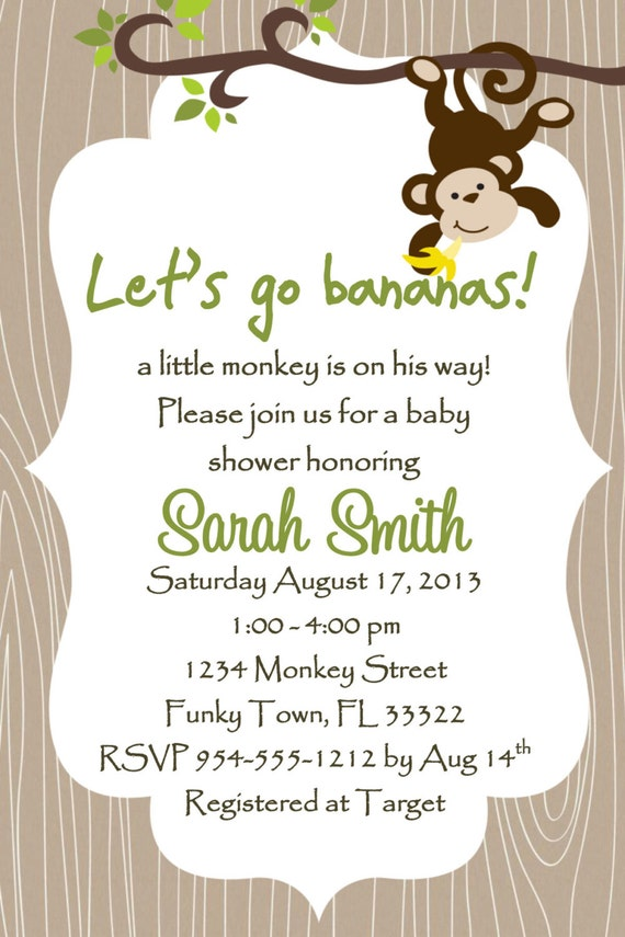 Monkey Baby Shower Invitation Template GIRL OR BOY