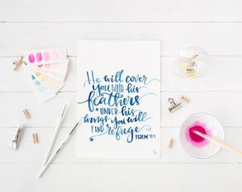 psalm 91:4 digital print