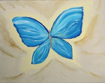 Blue buterfly acrylic painting original on canvas